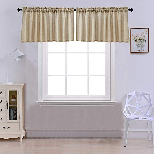 Curtain Valances for Windows Burlap Linen Window Curtains for Kitchen Living Dining Room 52 x 18 inches Rod Pocket Set of 2 Coffee (For Valances Living Curtain Room)
