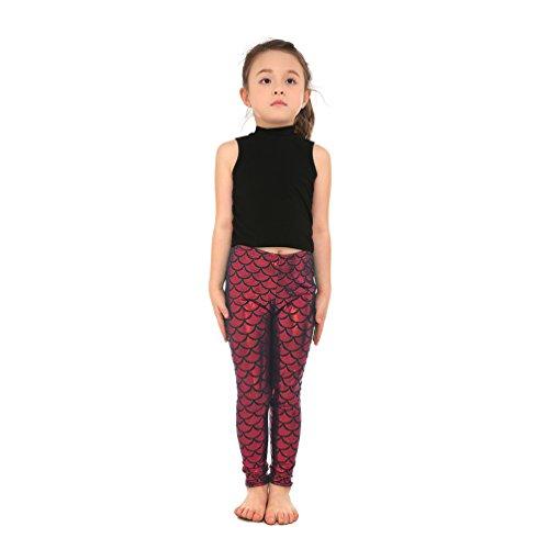 Lesubuy Shiny Red Fish Scale Pattern Cute Mermaid Kids Girls Leggings Pants Medium]()