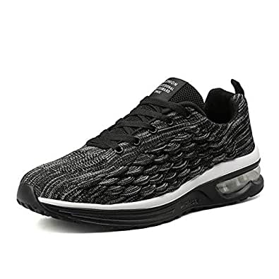 DAVAS Men's Breathable Flying Weaving Mesh Athletic Running Walking Gym Shoes Casual Sneakers Size 39 EU Black