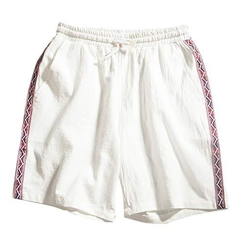 Goddessvan Mens Hanging Belt Gym Workout Shorts Bodybuilding Running Beach Shorts Linen Pants with Pockets White