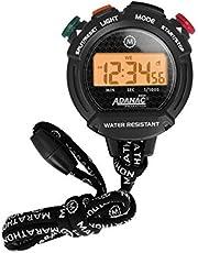 Adanac - Cronómetro profesional con pantalla digital de luz negra con botones de agarre, resistente al agua, resistente al polvo y a los golpes, modo de alarma y calendario de Marathon Watch