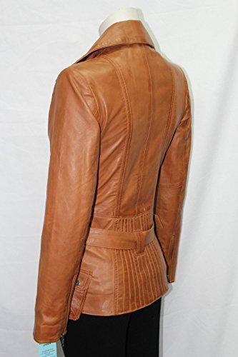 """""""Femenino"""" 2812 broncearse damas LAVADO Y CERA motorista Diseñador de cuero real de la chaqueta"""