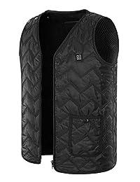 SEABEI Heated Vest Size Adjustable Electric Warm Vest USB Heating Clothing Black