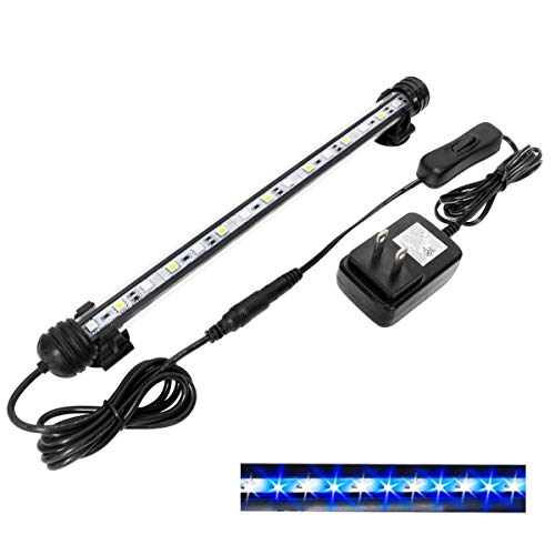 MingDak LED Fish Tank Light - Fish Aquarium Light,Waterproof Submersible Crystal Glass Tank Light,White & Blue Lighting Combinations Making Fish and Plant Stand Out- 15 LEDs 11.5 Inches ()