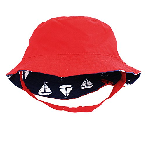 Little Me Reversible Navy Blue Sailboat Solid Red Baby