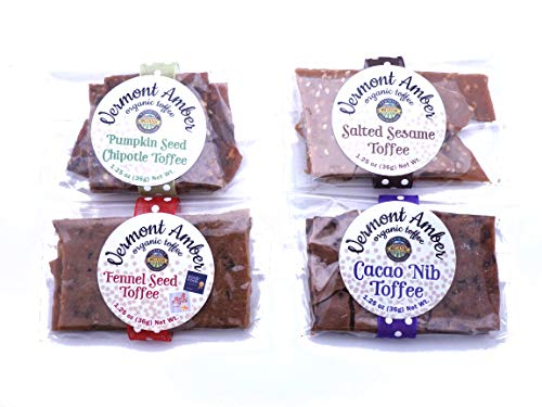 Organic Gourmet Sweet and Savory Toffee Variety Gift Pack Cacao Nib Fennel Seed Pumpkin Seed Chipotle and Salted Sesame