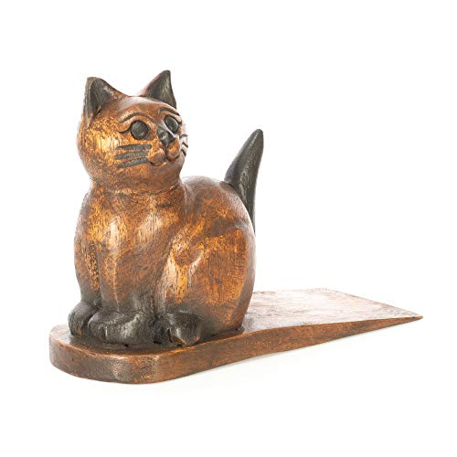 Sea Island Sitting Kitty Cat Cute Adorable Natural Brown 8 x 6 Solid Wood Door Stop