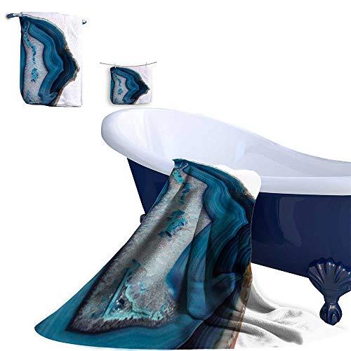 Leigh home 3 Piece Towel Set,Blue Agate Slice Great Gifting Set - Washcloth, Hand Towel & Bath Towel - Blue Cat Agate