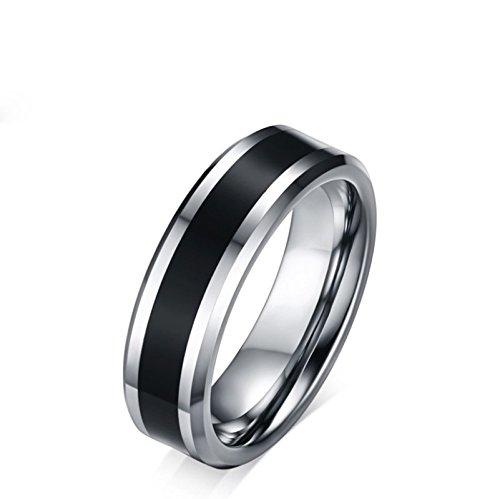 Wedding Bands Rings Men Women Black Enamel Beveled Edge Comfort Fit Size 7 ()