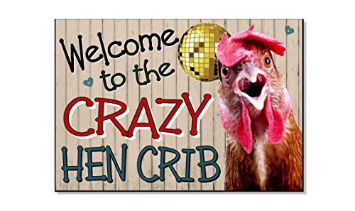"SLobyy Welcome to The Crazy Hen Crib Funny Outdoor Sign Plaque for Chicken Hen Coop House Run Garden Yard Gift Wooden Plaque 11""X7.5"""