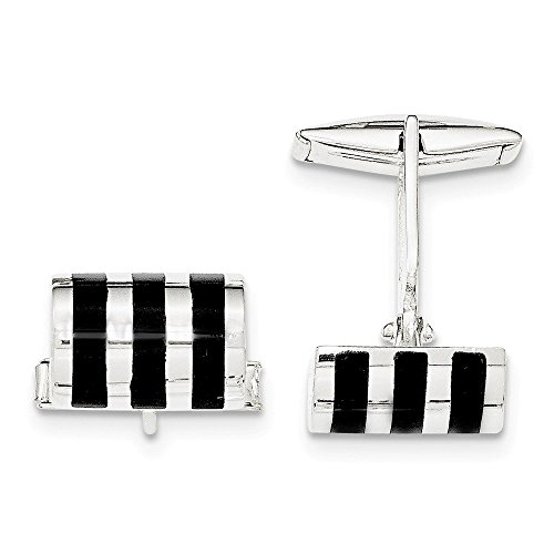 (Sterling Silver Onyx Cuff Links)