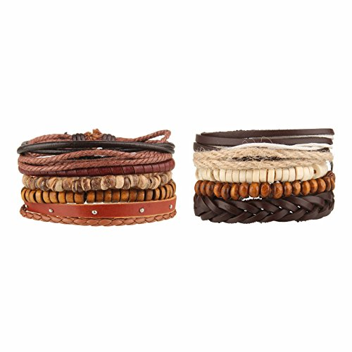 - Beauty7 10PCS Mixed Genuine Cowhide Leather Bracelet Men Women Braided Adjustable Multi-Layer Ethnic Tribal Wrap Bracelet Wood Bead Hemp Cord Cuff Wristband