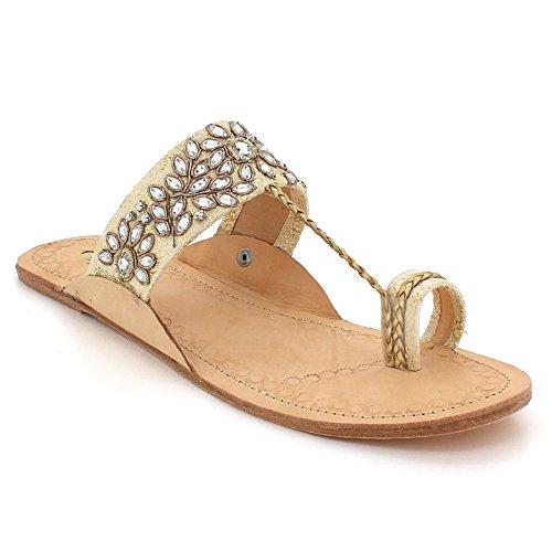 Glisser Or Authentique Cuir Dames Taille Kolhapuri Plates sur Toe Chaussures Sandales Femmes Décontractée Confort Chappal Post qRzgZwwc