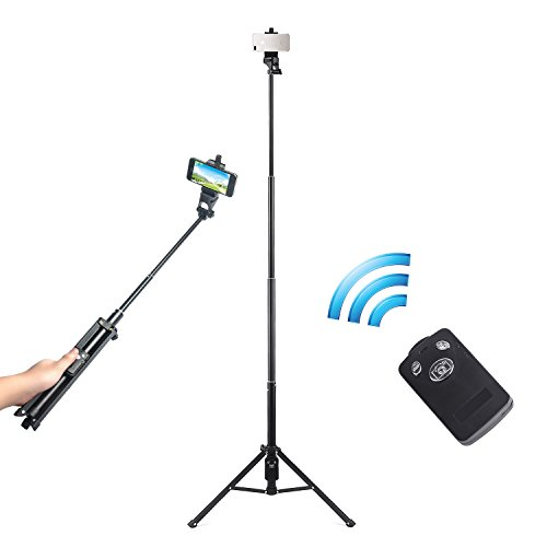 Eocean 54-Inch Selfie Stick Tripod, 3 in 1 Extendable iPhone Tripod, Self-portrait Monopod, Video Tripod for Cellphone and Camera, with Bluetooth Remote for Cellphone and Camera