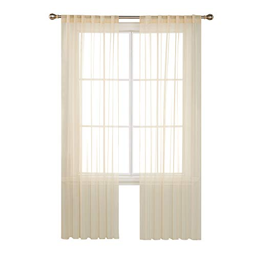 Deconovo Solid Color Sheer Curtians Sheer Voile Curtains Rod Pocket and Back Tab Curtains Sheer Curtain Panels for Living Room 52 W x 95 L Inch Vanilla 2 Panels
