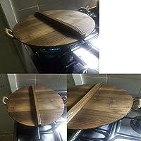 LQNB Cocina Tapa de Olla de Madera Multifuncional Manija Tapa de la Cacerola Respetuosa con el Medio Ambiente Tapa de la Tapa de la Olla de Madera para Hornear Anti-Escaldado 26Cm