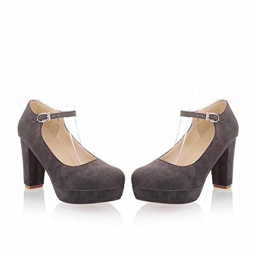 MissSaSa Damen Chunky heel Plateau Pumps mit Knöchelriemchen bequem high-heels Schnalle Kleidschuhe Schwarz