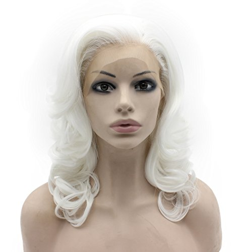 Mxangel Shoulder Length Wavy White Lace Front Costume Party Wig -
