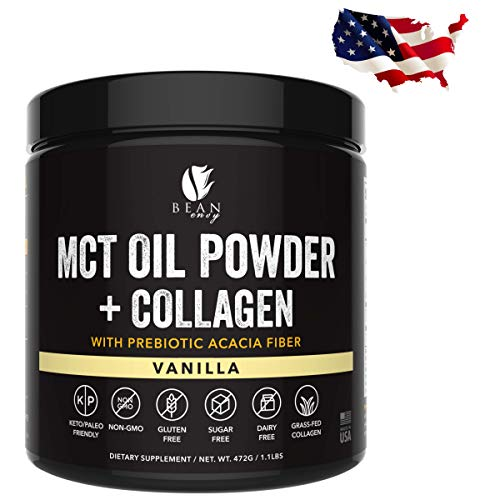 MCT Oil Powder + Collagen + Prebiotic Acacia Fiber - 100% Pure MCT's - Perfect for Keto - Energy Boost - Nutrient Absorption - Healthy Gut Support - Vanilla