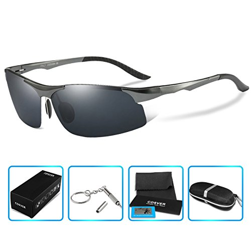 COSVER 8003 Men's Sports Style Polarized Sunglasses for Driving Fishing Golf Glass (Gray, none)