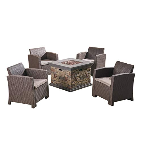 Great Deal Furniture Casey Outdoor 4-Seater Wicker Club Chair Chat Set with Fire Pit, Brown with Mixed Beige and Stone (Conversation Sets With Fire Pit)