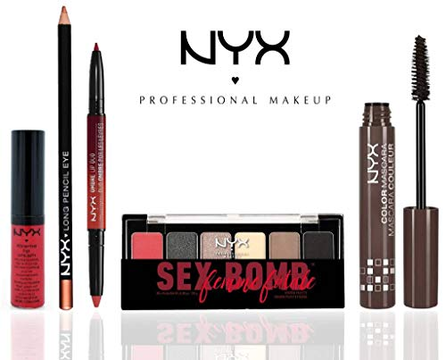 NYX Professional Makeup Eyes & Lips Set (The Sex Bomb Femme Fatale Shadow Palette, NYX Color Mascara, Long Eye Pencil, NYX Ombre Lip Duo, Xtreme Shine Lip Cream)