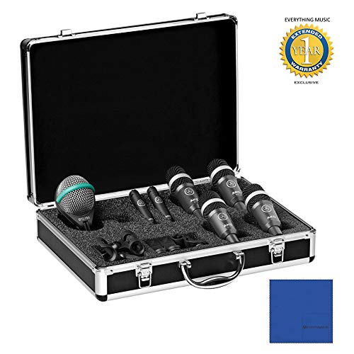 AKG Drum Set Concert 1 Professional Drum Microphone Set (1 x D112 MkII, 2 x C430, 4 x D40) with Microfiber and 1 Year Everything Music Extended Warranty
