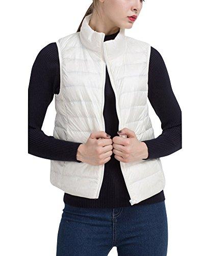 Gilet Chaud Hiver Zip Lger Col Manches Femme Veste Sans Ultra Blanc Doudoune Montant dvvxP4