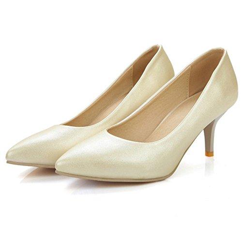 COOLCEPT Damen Fashion Slip-On Geschlossene Hochzeit Pumps Extra Sizes Ivory