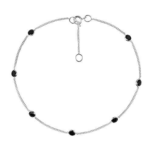 Black Cubic Zirconia .925 Sterling Silver Link Anklet ()