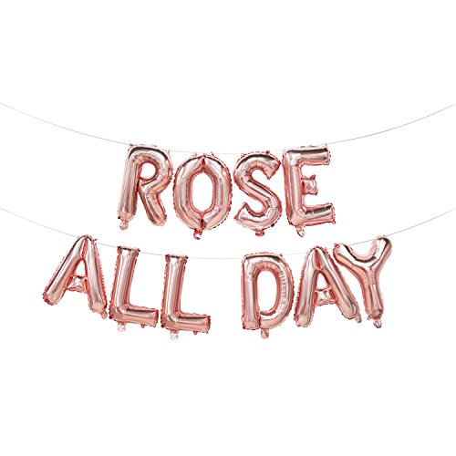 Rose All Day Balloons | Rose All Day Banner | Rose All Day Decorations for Bridal Shower, Birthday Party, Bachelorette Party, Brosé Party, Housewarming | Rose Gold, 16inch