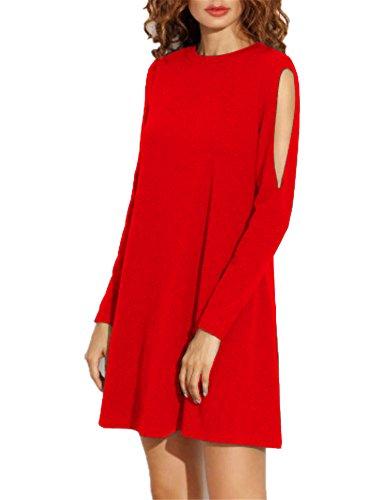 Haola Women's Fall Shoulder Off Long Sleeve T-shirt Dress Basic Shift Dress XL Red