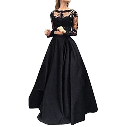 Women Dresses Lady Two Pieces Lace Floral Bodycon Long Sleeve Tops Prom Evening Party Swing Dress (XL, Black)