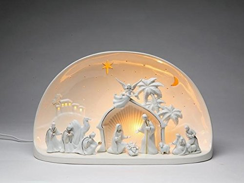 8.13'' Festive ''Nativity Scene'' in Dome Porcelain Night Light by ATD