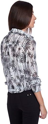 Q2 Mujer Camisa con Estampado de Palmeras - XS - Negro: Amazon.es: Ropa y accesorios
