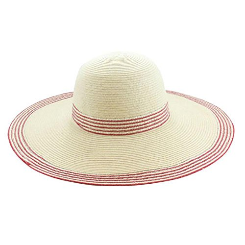 [Wide Brim Floppy Sun Hat (Beige/Mauve Red)] (1920s Beach Costume)