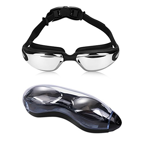 SGRICE Swimming Goggles, Swim Goggles No Leaking UV Protection, Anti Fog Wide View Swimming Goggles with Free Protection Case for Adult Men Women Youth Kids Child, Watertight