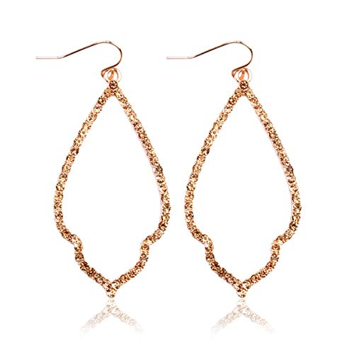 (Sparkly Cubic Rhinestone Geometric Lightweight Open Hoop Earrings - Cut-Out Drop Dangles Scalloped, Moroccan Floral, Quatrefoil Clover, Kite (Moroccan Teardrop - Rose Gold Peach))