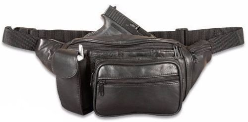 Fanny Pack Gun Storage Black Leather Adjustable Waist Cell Phone Case 5 Compartments (Black)