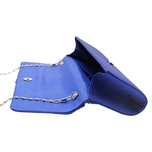 Blue Handbags Wocharm Shoulder Womens Evening Ladies Bag Clutch Diamante Purse Satin Royal Wedding Party TM wfF7wrn6