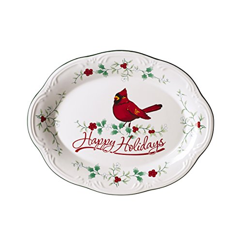 Pfaltzgraff Oval Plates - Pfaltzgraff 5181431 Winterberry Happy Holidays Cardinal Oval Platter Dinnerware Set, Assorted