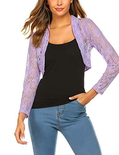Crochet Lavender - Grabsa Women's 3 4 Sleeve Lace Shrugs Bolero Cardigan Crochet Sheer Crop Jacket Lavender