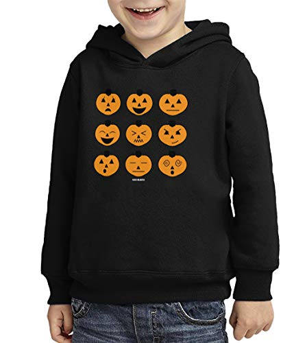 Halloween Icon Text (Halloween Pumpkin Icons - Phone Text Toddler/Youth Fleece Hoodie (Black, 4T)