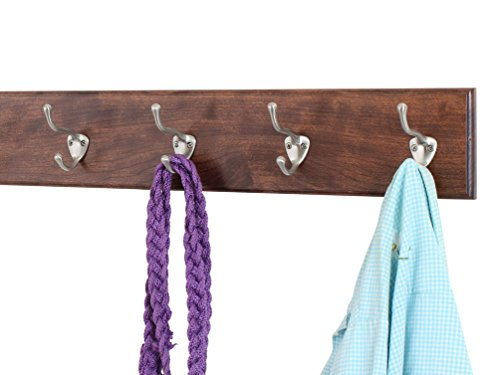 Solid Cherry Wall Mounted Coat Rack with Satin Nickel Wall Coat Hooks - Made In the USA