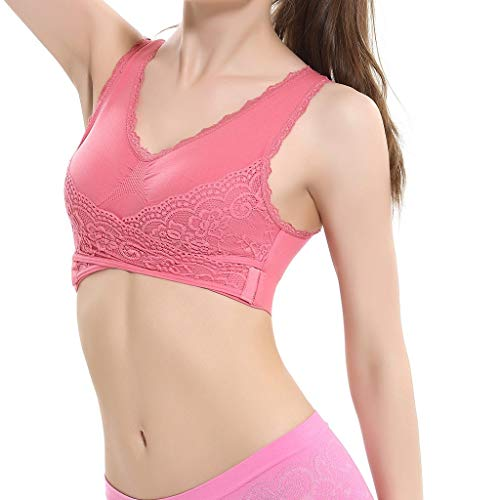 - Hivot Women's Full Cup Sports Bras Front Cross Side Lace Seamless Yoga Bras Lingerie Camisole Brassiere Activewear Bra Hot Pink