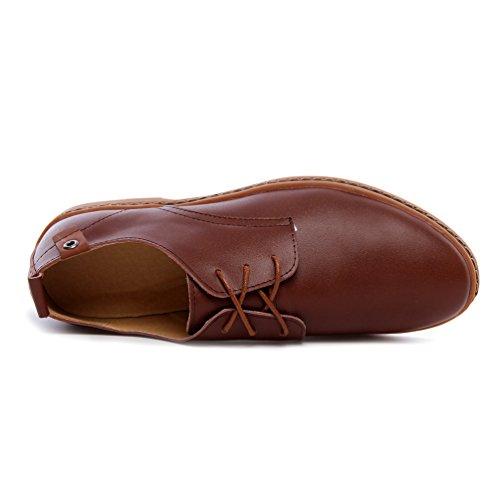 YiJee Herren Übergröße Oxford Schuhe Freizeit Derby Schnürhalbschuhe Braun