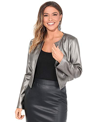KRISP Women PU Leather Cropped Jacket Long Sleeve Bolero[4432-GNMET-S]