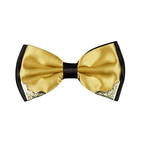 BXzhiri Men's Two-Tone Metal Corner Bow Tie Elegant Adjustable Pre-Tied Bow Tie Pocket Square Handkerchief Set for Men Boys