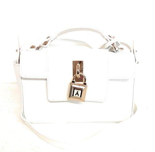 PATRIZIA PEPE 2V6520/AT78 borsa in pelle saffiano lucchetto e chiave bianco mis. 31x14