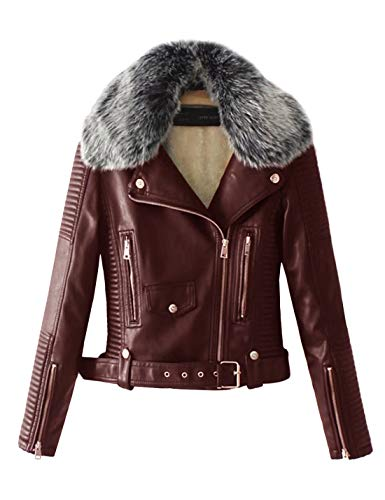 Lentta Women's Faux Fur Collar Pu Leather Fleece Lined Warm Quilted Moto Jacket (Medium, Purple) ()